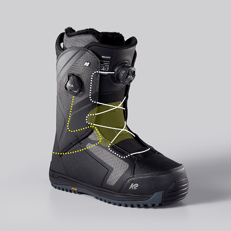 K2 Holgate Snowboard Boot, Lace Path